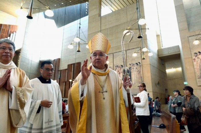 Los Angeles Archbishop Jose Gomez announced a compensation program as an alternative to court proceedings for minors sexually abused by clergy (AFP Photo/KEVORK DJANSEZIAN)