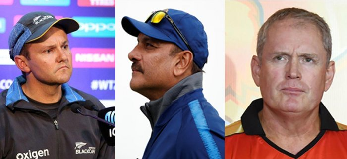 Mike Hesson (L), Ravi Shastri (C) and Tom Moody