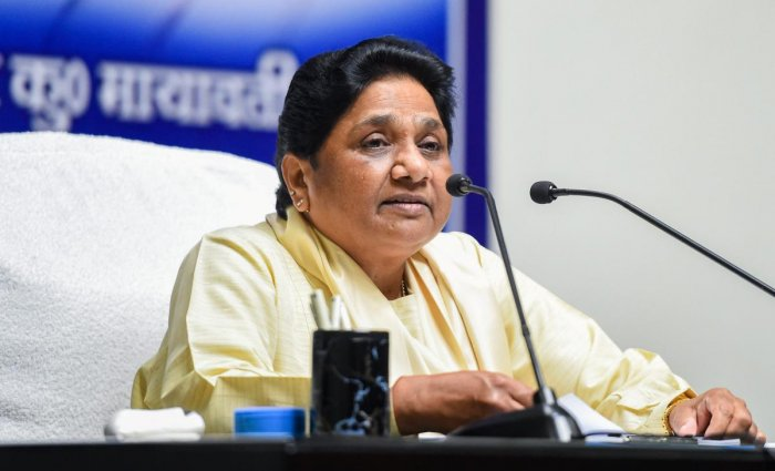 Lucknow: Bahujan Samaj Party (BSP) president Mayawati addresses a press conference after Election Commission banned her from campaigning for two days, in Lucknow, Monday, April 15, 2019. (PTI Photo/Nand Kumar) (PTI4_15_2019_000189B)