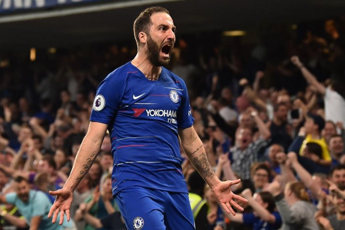 Chelsea's Gonzalo Higuain celebrates after scoring against Burnley in London on Monday. AFP