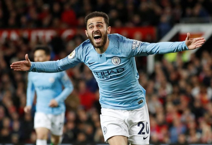 Manchester City's Bernardo Silva celebrates scoring their first goal against Manchester United in the English Premier League on Wednesday. AFP