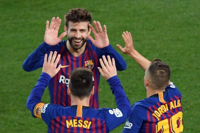 TIME IS NOW: Barcelona's Lionel Messi , Gerard Pique (top) and Jordi Alba (right) will be hoping to add to their legacies with another European crown. AFP