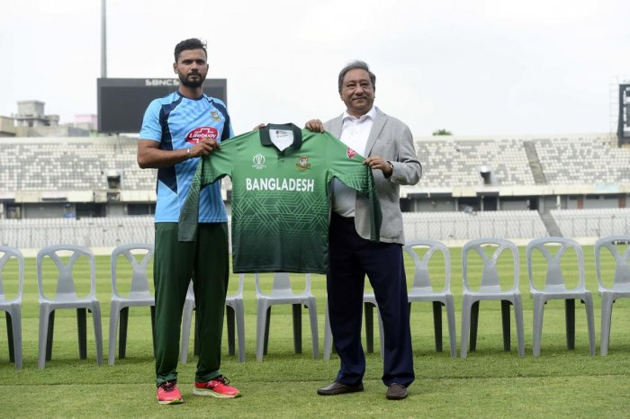 The original Bangladesh jersey for the upcoming World Cup that made fans see red for the lack of red. AFP