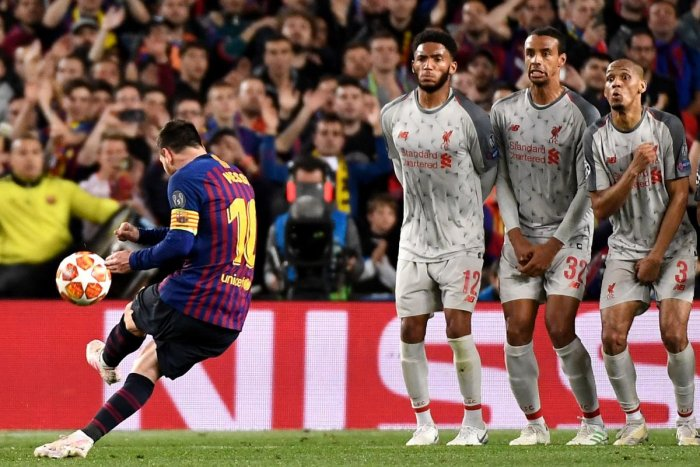 SCORCHING GOAL: Barcelona's Lionel Messi scores from free-kick during their Champions League semifinal first leg against Liverpool on Wednesday. AFP