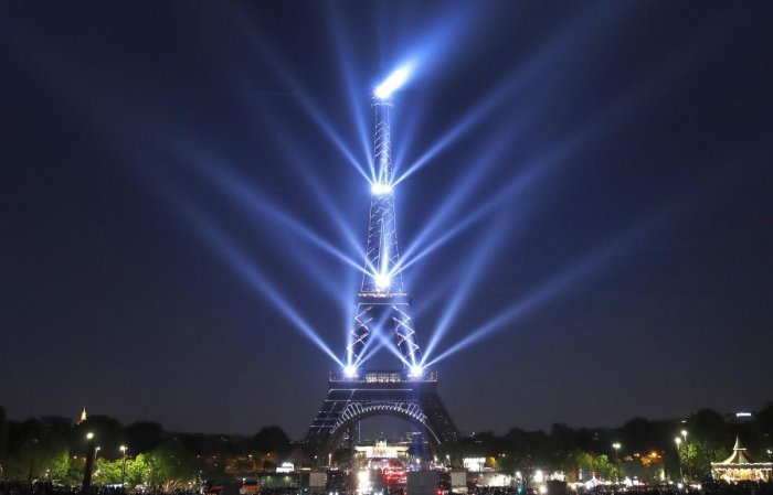 Paris: A light show illuminates the Eiffel Tower for its 130 year anniversary, in Paris, Wednesday, May 15, 2019. Paris is wishing the Eiffel Tower a happy birthday with an elaborate laser show retracing the monument's 130-year history. (Photo PTI)