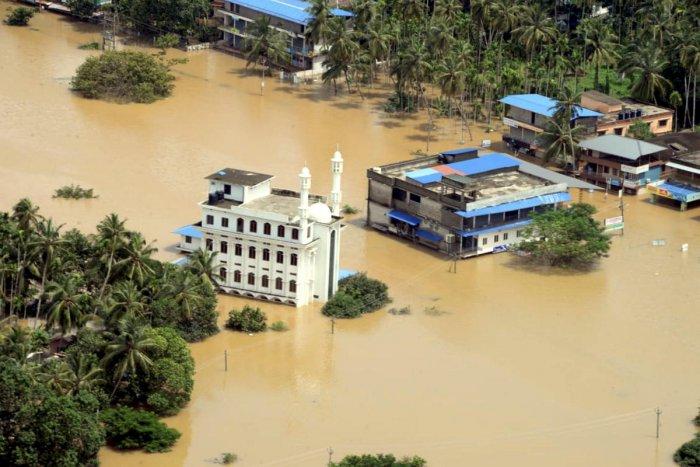 Malappuram: A view of a flood-affected region in Malappuram district, Kerala. (PTI Photo)