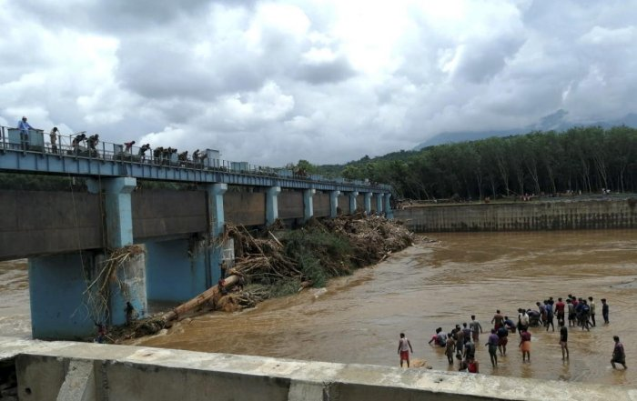 Wooden logs float on the Chaliyar river as remnants of the flash flood, in Malappuram district, Monday, Aug 12, 2019. (PTI Photo)