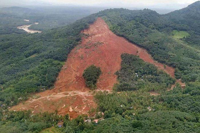 An aerial view of the site of landslide which affected several houses at Muthappankunnu, in Kavalappara of Malappuram district. PTI photo