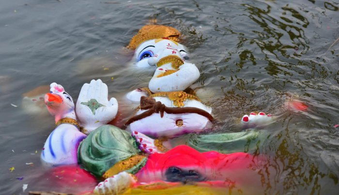 With increasing awareness among citizens, the use of Plaster of Paris Ganesha idols has reduced. DH file photo