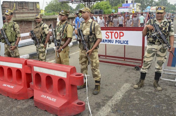 Jammu: Security personnel guard at Bikram Chowk ahead of the 73rd Independence Day, in Jammu, Tuesday, Aug 13, 2019. (PTI Photo) (PTI8_13_2019_000129A)