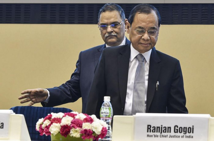 Chief Justice of India Justice Ranjan Gogoi with Central Bureau of Investigation (CBI) Director Rishi Kumar Shukla during the 18th Late Dharamnath Prasad Kohli memorial lecture organised by CBI, in New Delhi. (PTI Photo)