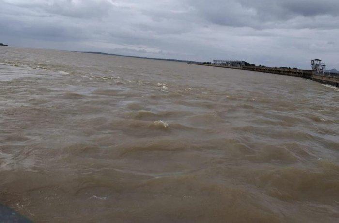 The Krishnaraja Sagar (KRS) dam in Srirangapatna taluk, Mandya district on Tuesday.