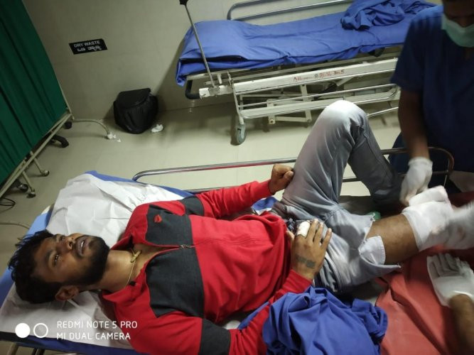 Suspect Bharatha (top) attacked constable Umesh (left) with a dagger after which SI Lakshman (right) fired in air.