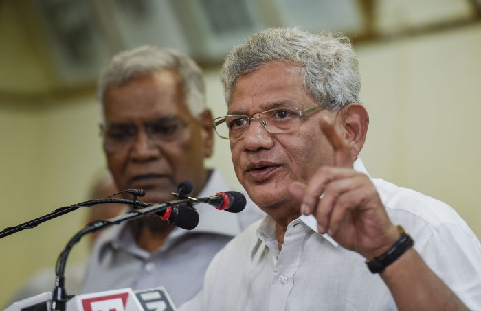 CPI (M) General Secretary Sitaram Yechury addresses a press conference. (PTI Photo)