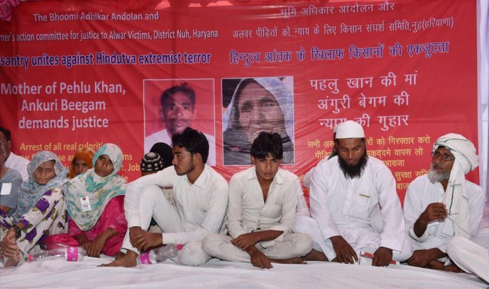 A File photo is A file photo is seen Alwar lynching victim Pehlu Khan's mother Ankuri Beegam (L) and other family members at a dharna, at Jantar Mantar in New Delhi. (PTI) seen Alwar lynching victim Pehlu Khan's mother Ankuri Beegam (L) and other family members at a dharna, at Jantar Mantar in New Delhi. (PTI)