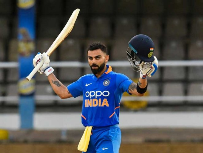 Kohli remained unbeaten on 114 and completed the win with back-to-back boundaries off Carlos Brathwaite. (AFP Photo)