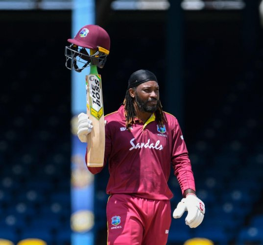 Chris Gayle celebrates his half-century during the 3rd ODI match between West Indies and India. Photo credit: AFP