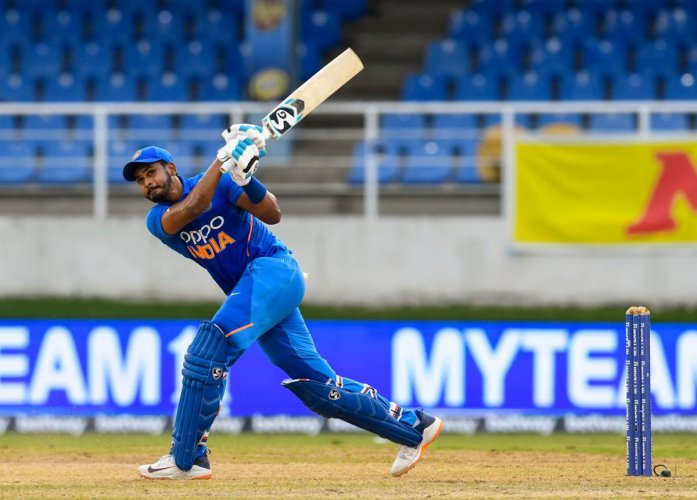 Shreyas Iyer of India hits 6 during the 3rd ODI match between West Indies and India at Queens Park Oval, Port of Spain, Trinidad and Tobago. (AFP Photo)
