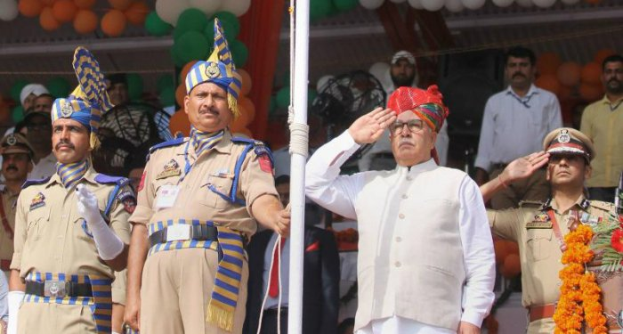 Advisor to J&K Governor Farooq Khan salutes the tricolour after it was hoisted during 73rd Independence Day celebrations at Mini Stadium, in Jammu, Thursday, Aug 15, 2019. (PTI Photo)