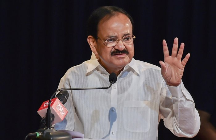 Vice President M Venkaiah Naidu addresses after unveiling the portrait of late former prime minister Atal Behari Vajpayee on his first death anniversary at Indian Council for Cultural Relations (ICCR), in Kolkata on Friday. PTI photo