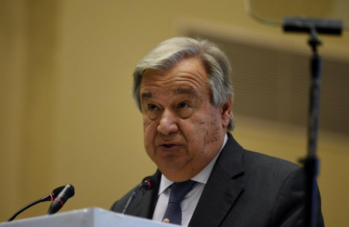 United Nations Secretary General Antonio Guterres looks on during the inagural ceremony of the '2nd Global RE-INVEST India-ISA Partnership Renewable Energy Investors Meet & Expo' in New Delhi on October 2. AFP