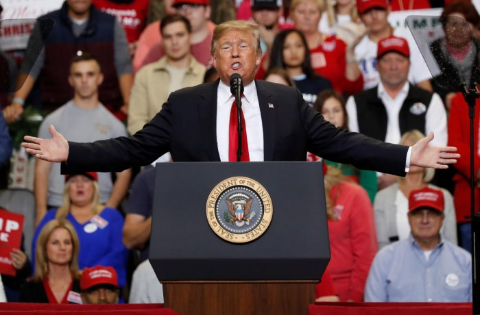 US President Donald Trump addresses supporters during a Make America Great Again rally in Biloxi, Mississippi, US, November 26, 2018. (REUTERS)