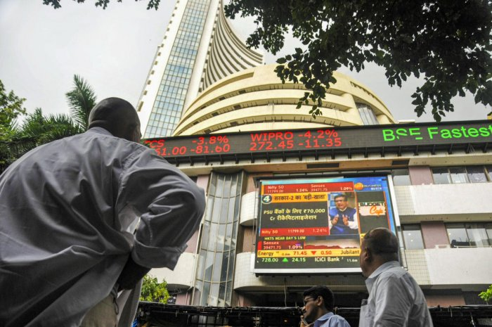The stock market index on a display screen at the Bombay Stock Exchange (BSE) building in Mumbai. (PTI File Photo)