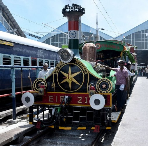 The railways conducted a heritage run of a 164-year-old locomotive, which is the world's oldest working steam engine, to mark the 73rd Independence Day. (DH Photo)