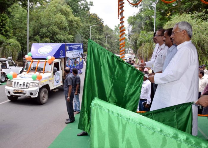 Bihar Chief Minister Nitish Kumar flags off Water-Life-Greenery awareness campaign van in Patna, Saturday, Aug 17, 2019. (PTI Photo)