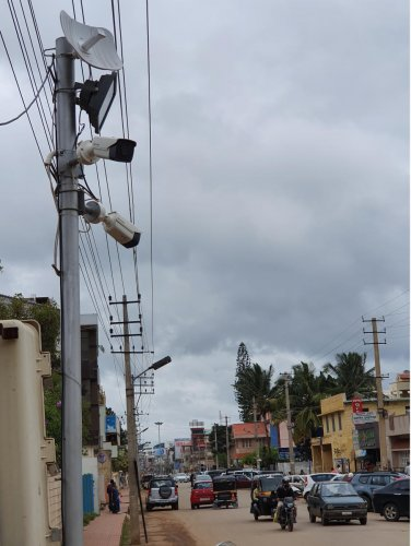 CCTV cameras installed at a junction near Food Palace on Rathnagiri Road in Chikkamagaluru.