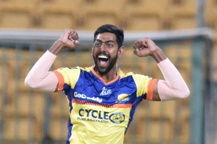 Suchith J of Mysuru Warriors celebrates after taking the wicket of Bengaluru Blasters' batsman. DH PHOTO/SK Dinesh