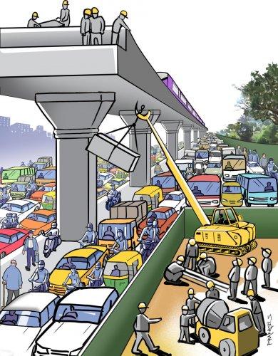 Metro work and traffic jam