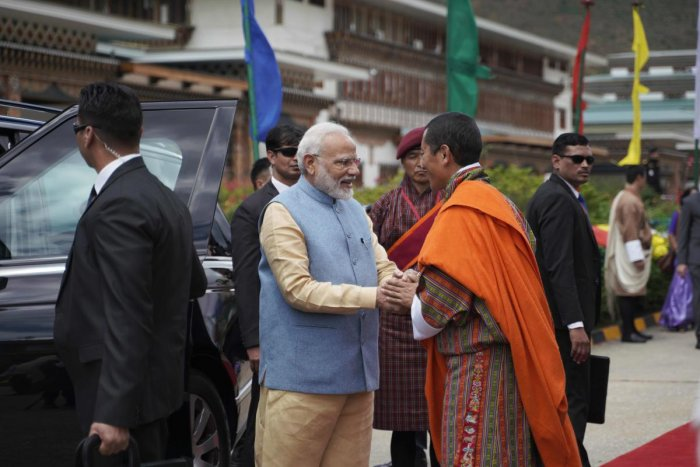 The prime minister, who reached Bhutan in the morning, is on a two-day visit to the Himalayan kingdom. (AFP Photo)