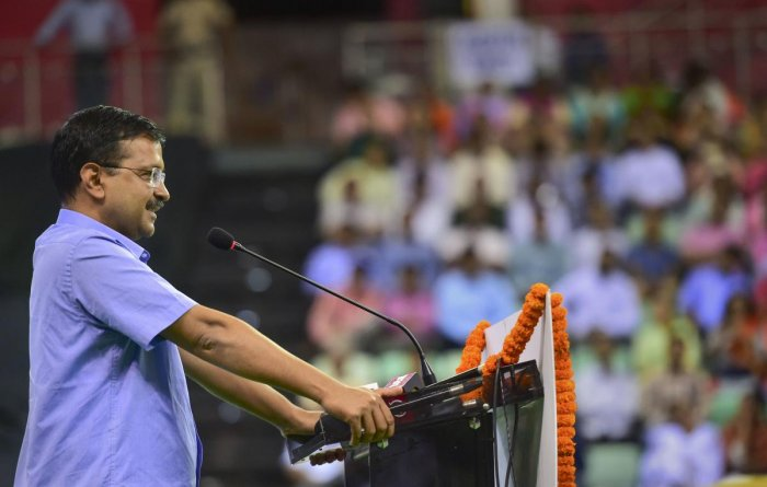 Delhi Chief Minister Arvind Kejriwal addresses during the launch of 'Constitution at 70 Campaign', in New Delhi, Wednesday, Aug 14, 2019. (PTI Photo/Arun Sharma)
