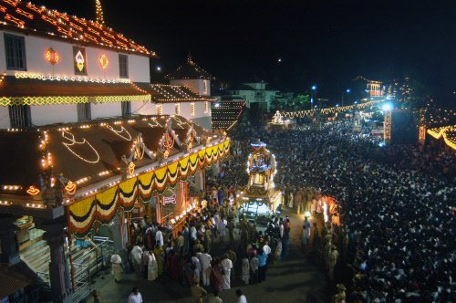 Silver chariot being taken out in Dharmasthala on Laksha Deepotsava, 2007. DH File Photo