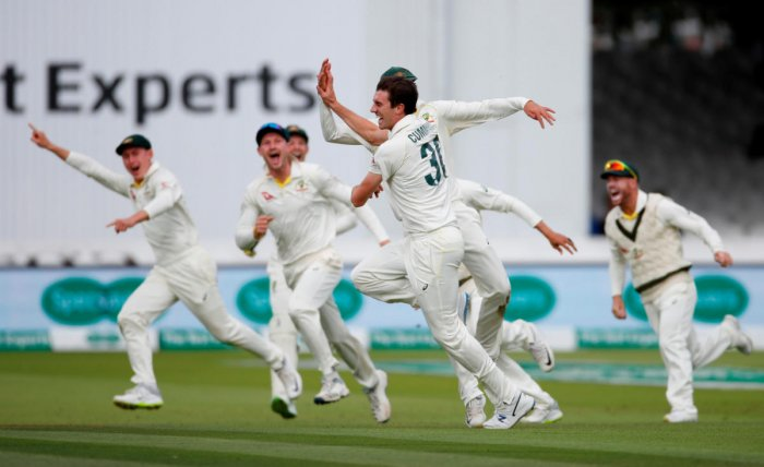 Australia's Pat Cummins celebrates taking the wicket of England's Joe Root. (Reuters file photo)