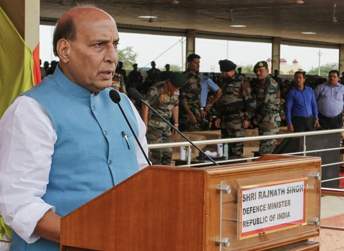 Rajnath Singh said talks with Pakistan will be held only if it stops supporting terror. PTI file photo