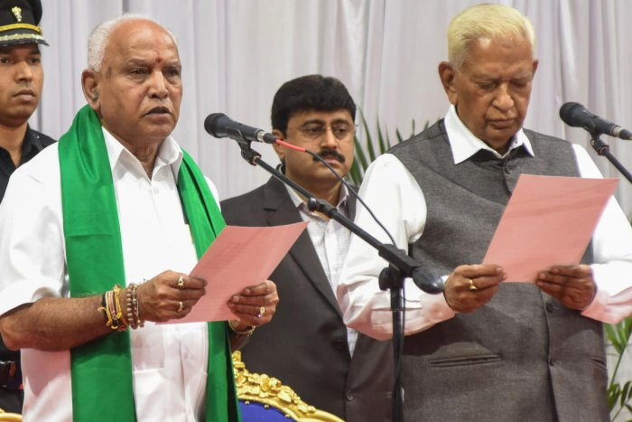 B S Yediyurappa was sworn-in as the chief minister at Raj Bhavan in Bengaluru on July 26.