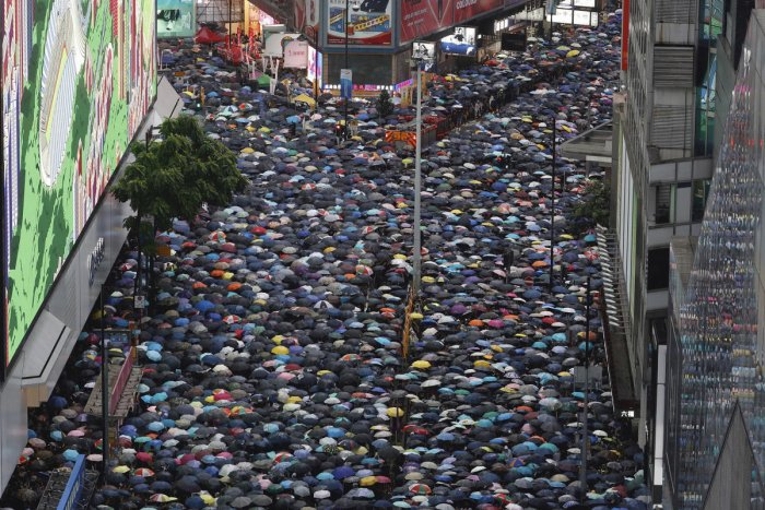 A view of the protest in Hong Kong. (PTI photo)