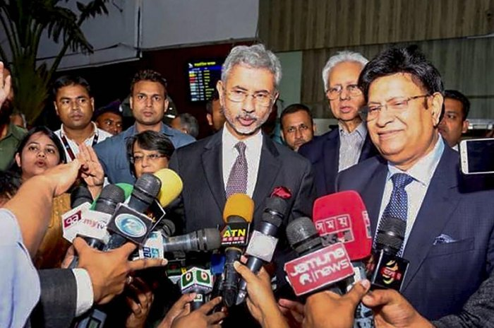 External Affairs Minister S Jaishankar speaks to media personnel on his arrival in Dhaka. (PTI file photo)