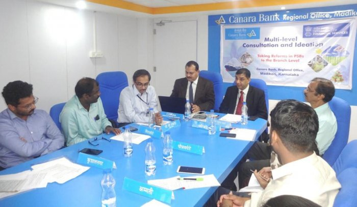 Canara Bank Regional Office Mangaluru Circle DGM Bala Mukunda Sharma conducts a meeting at the bank's regional office in Madikeri recently.
