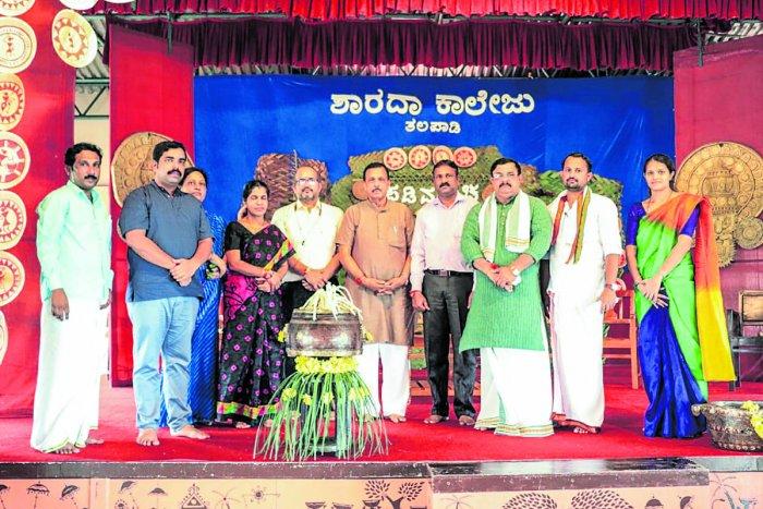 Dignitaries at the inauguration of 'Padimancha-Aatid  Onji Thamana' at Sharada Degree College at  Devinagara in Talapady.