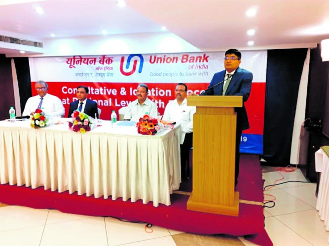 Union Bank of India GMCentral Office B S Venkatesh addresses the gathering at the regional level bankers meeting organised in Mangaluru recently.