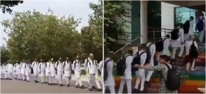 The first year medical students were forced to tonsure their heads and march on the road by their seniors. (Photo: Twitter video screengrab)
