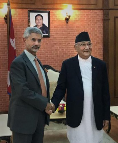 External Affairs Minister S Jaishankar is greeted by Nepal's Prime Minister KP Sharma Oli during a meeting, in Kathmandu (PTI Photo)