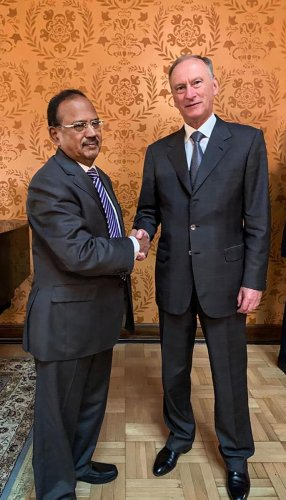 National Security Advisor Ajit Doval shakes hands with Nikolai Patrushev, Secretary of the Russian National Security Council during a meeting ahead of PM Narendra Modi's visit to Vladivostok for the Eastern Economic Forum in early September, in Moscow. (P