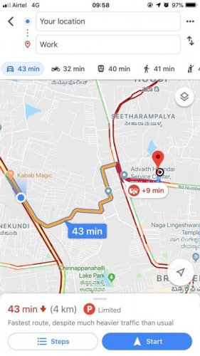 A Google Map shows traffic snarls around Kundanahalli as the road caved in.