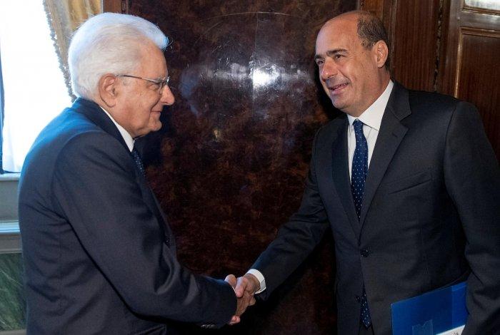 Democratic Party leader Nicola Zingaretti meets with Italian President Sergio Mattarella for consultations in Rome (Reuters photo)