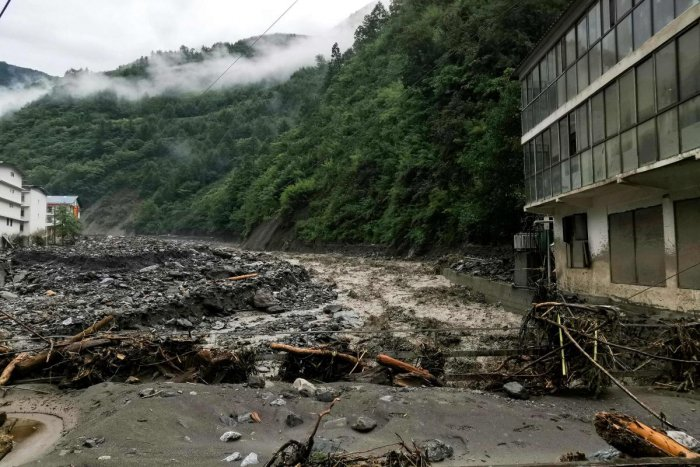This photo taken on August 21, 2019 shows the aftermath of a mudslide caused by heavy rainfall in Wenchuan county, in China's southwestern Sichuan province. AFP Photo