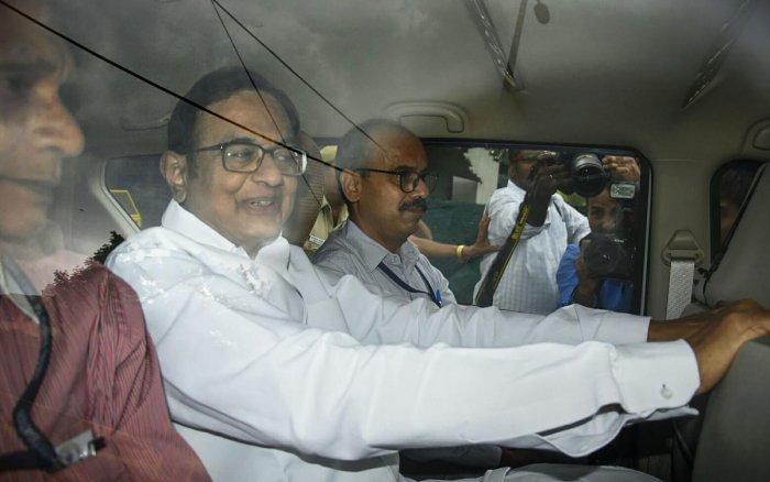 P Chidambaram in CBI custody. (PTI)